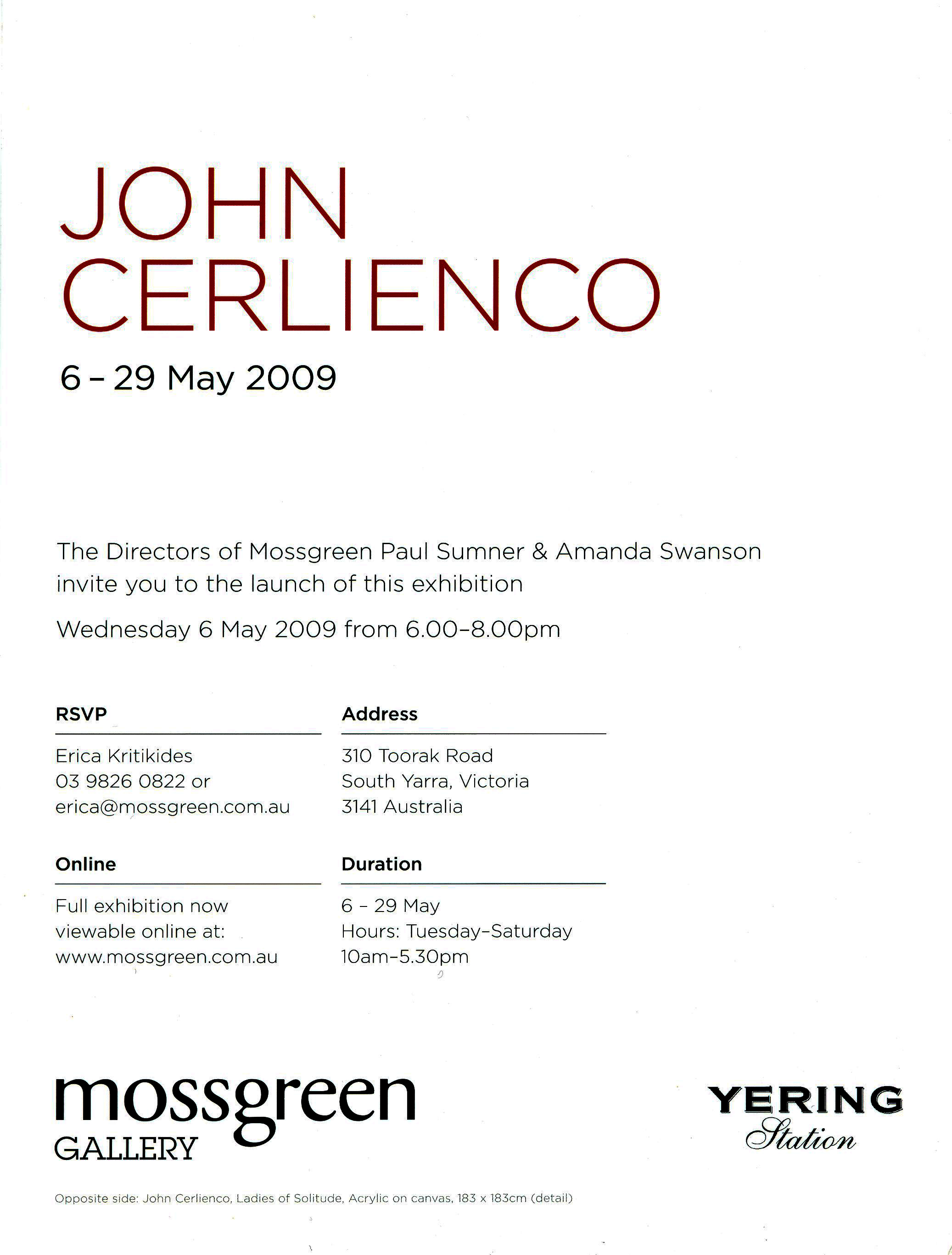 Catalogue inner page for John Cerlienco Exhibition 6-29 March 2009 at Mossgreen