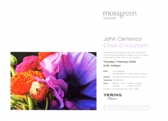 Inner page of Mossgreen's gallery catalogue for Close Encounters exibition for John Cerlienco