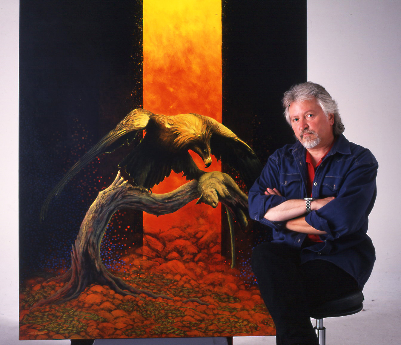 Portrait of John Cerlienco in front of 'The Chasm' 1999