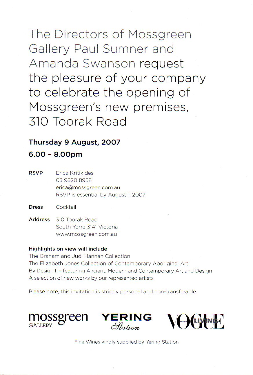 Back cover for Mossgreen's New Gallery opening