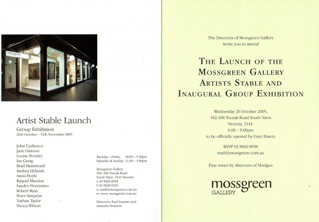 Mossgreen Artist Stable Launch Catalogue - Oct-Nov 2005